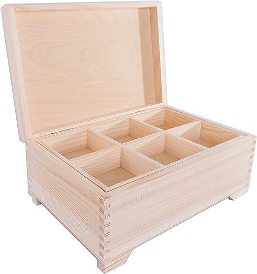 SearchBox Grande Caja de Madera con 6 Compartimentos/Caja de ...