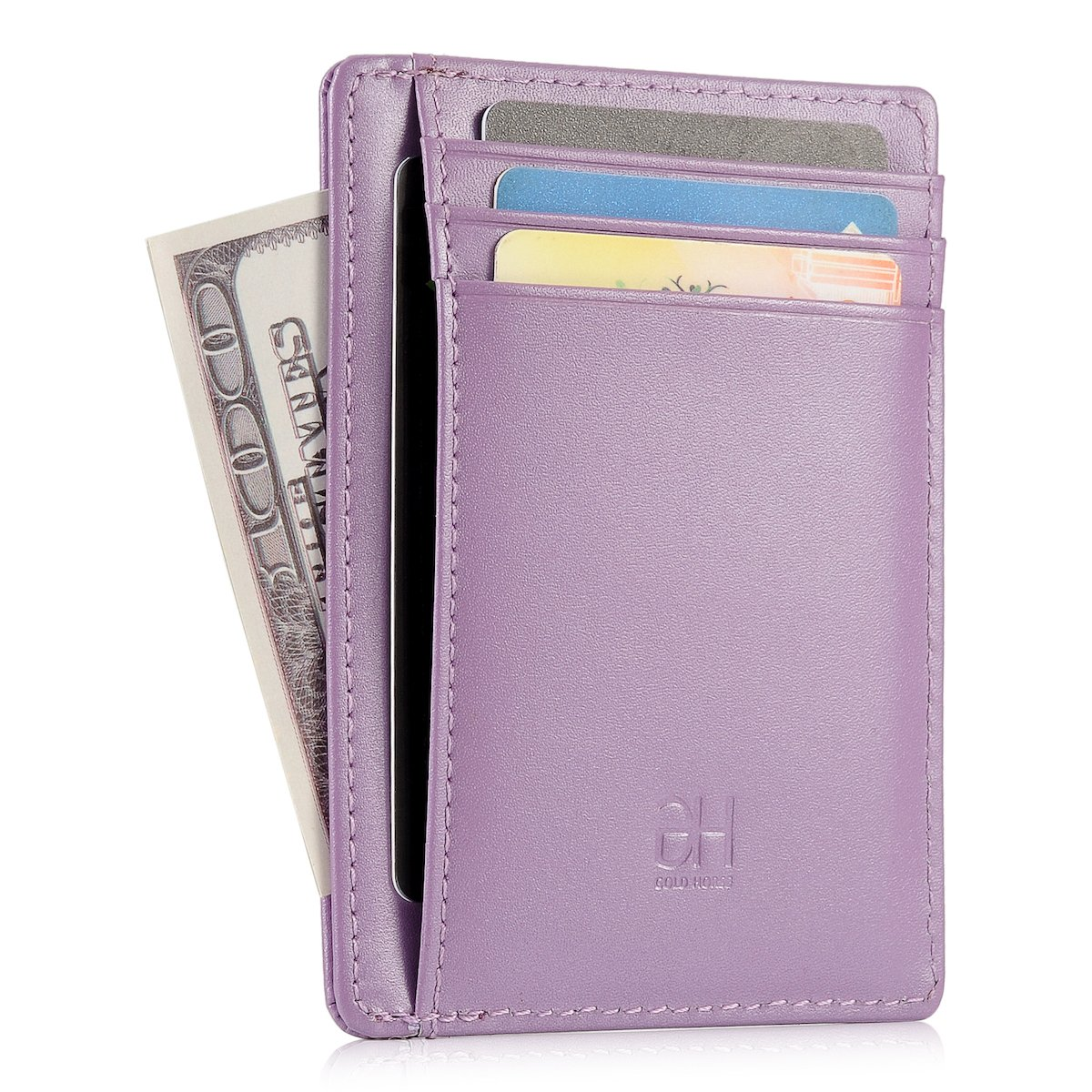 GH GOLD HORSE Slim RFID Blocking Card Holder Minimalist Leather Front Pocket Wallet for Women (Light Purple)