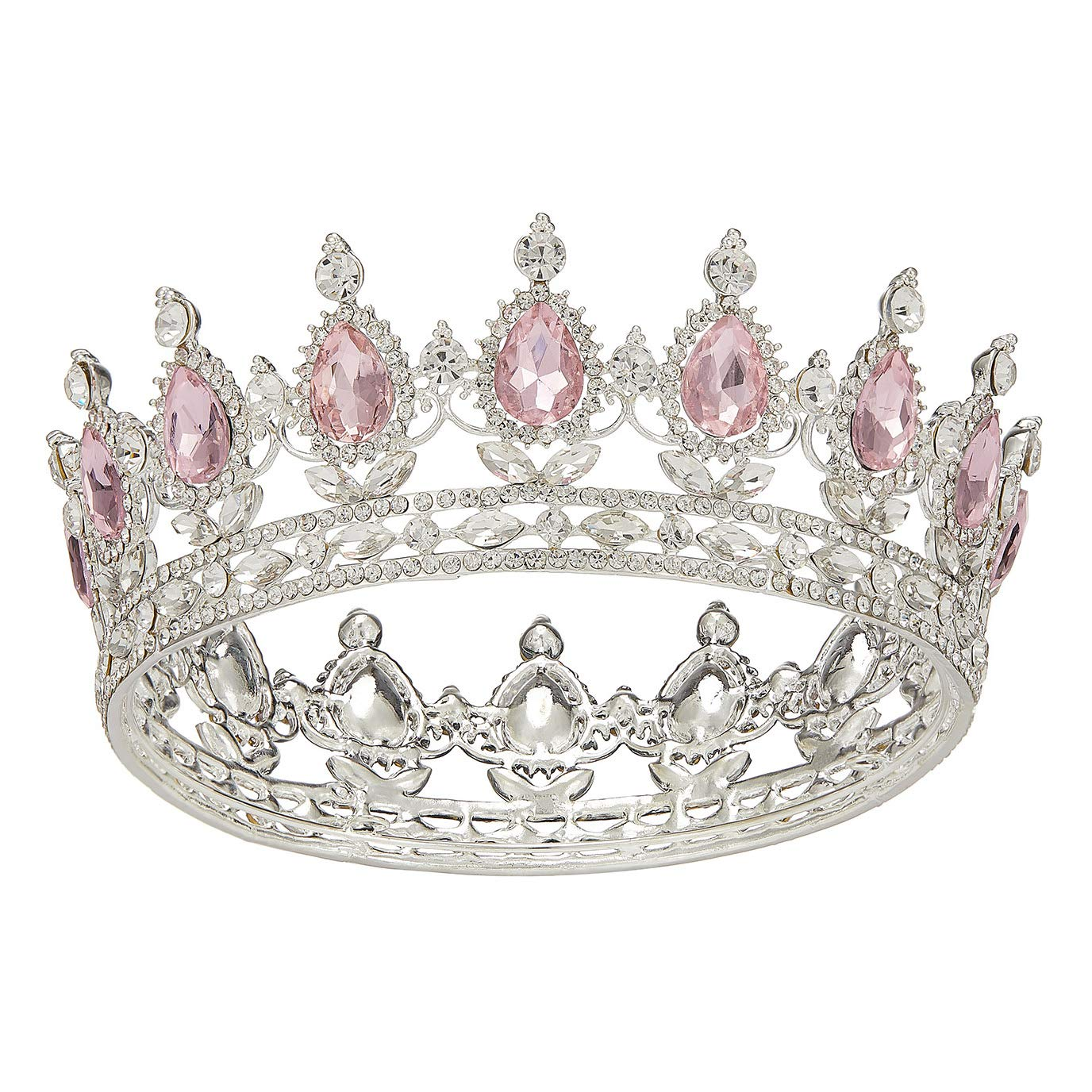 SWEETV Crystal Queen Crown for Women, Rhinestone Wedding Tiara Headband, Full Round Princess Crown Hair Accessories for Prom Birthday Costume Party,Pink+Silver