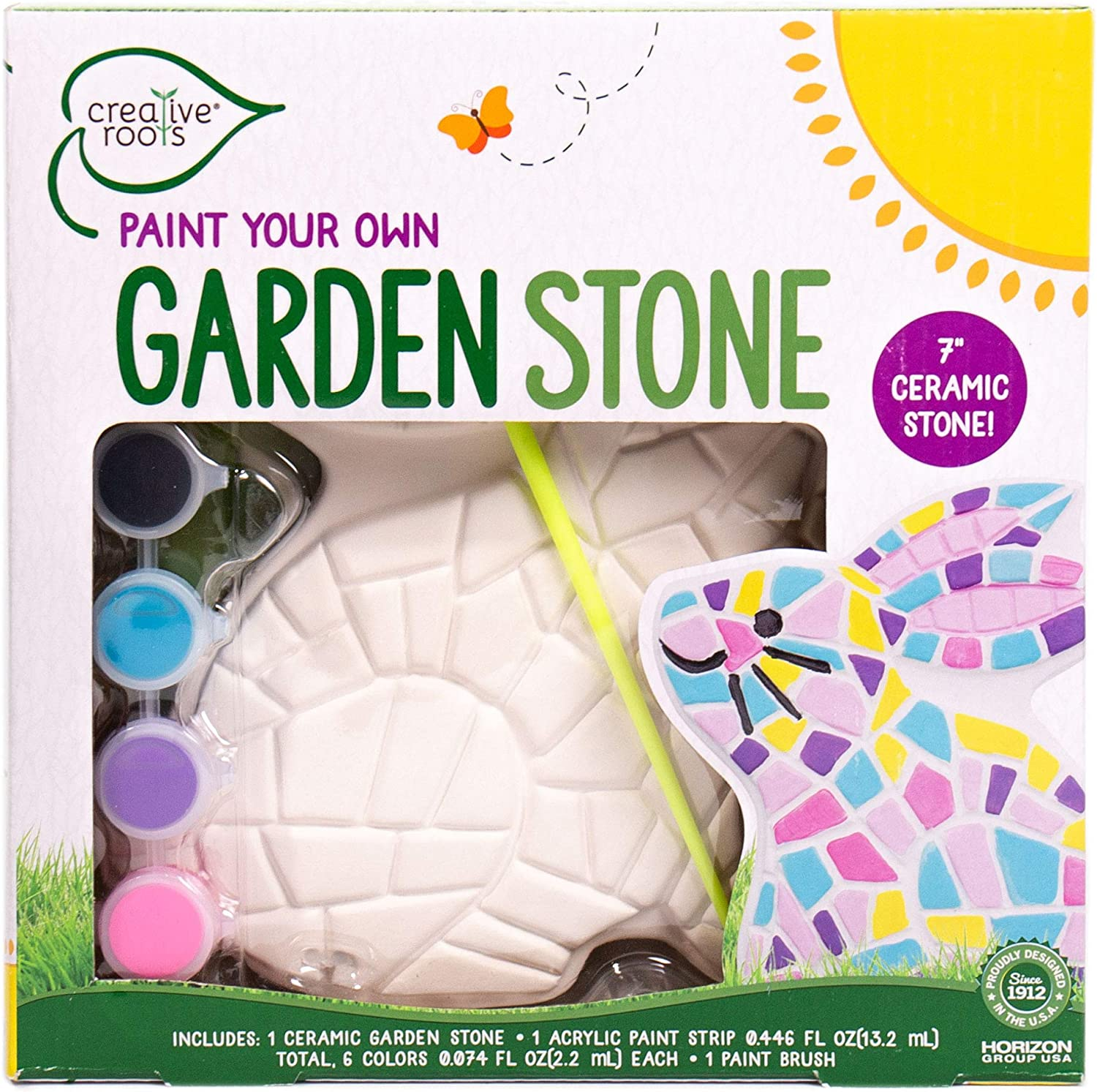 Creative Roots Paint Your Own Bunny Garden Stone by Horizon Group USA, Decorate & Personalize a 7