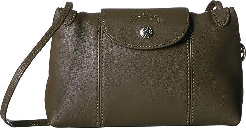 Longchamp Women's Leather Le Pliage Cuir Crossbody Bag Khaki ...
