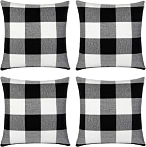 InnoGear Pillow Covers, 18 x 18 inch Set of 4 Black and White Buffalo Plaid Cotton Linen Pillow Cases for Farmhouse Home Decor Design Cushion Case Sofa Bedroom Car