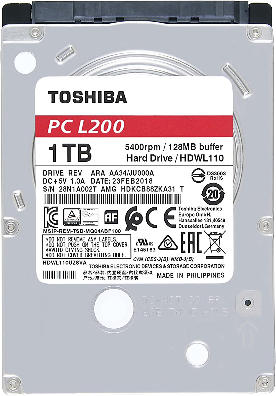 Toshiba MG Series Enterprise 6TB 3.5/'/' SATA 6Gbit//s Internal HDD 7200RPM 550TB//year 24//7 operation MG04ACA600E