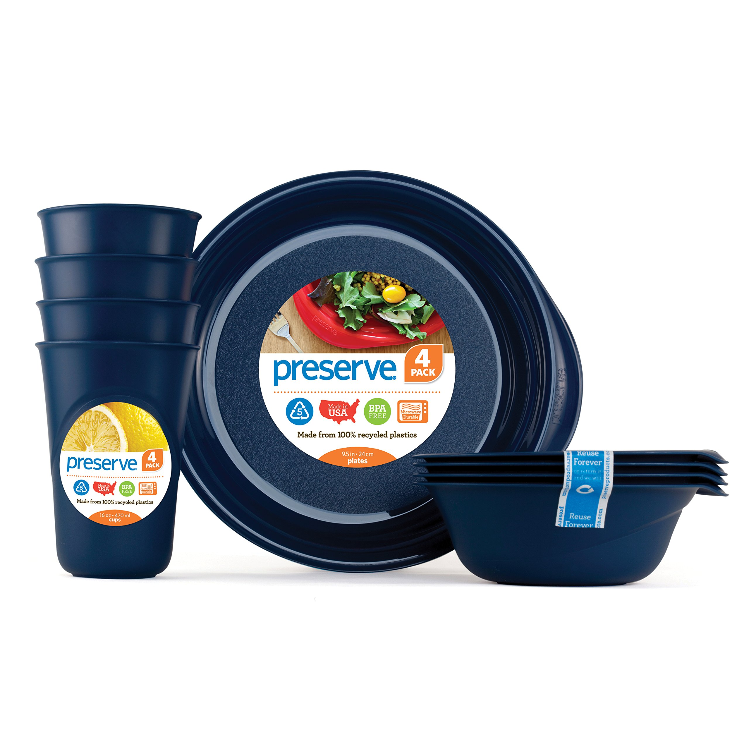 Preserve Everyday Tableware Set: Four Plates, Four Bowls and Four Cups, Midnight Blue