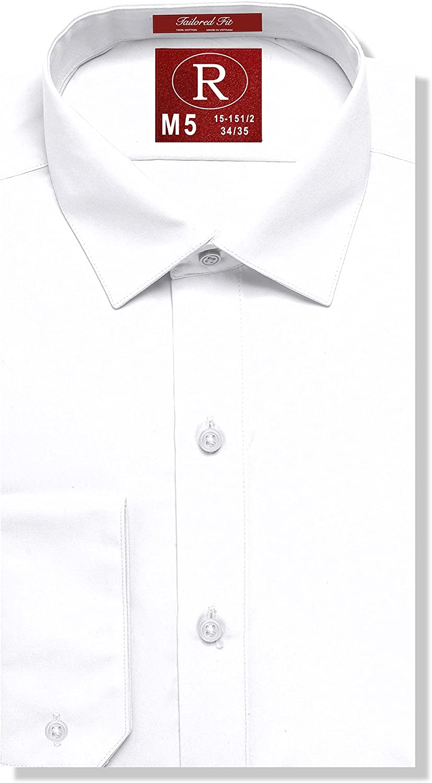 Real Cotton de los hombres Camisa de vestir ajustada o la camisa del smoking, convertible para el brazo, Corre Collar Estilo Clark 19-20