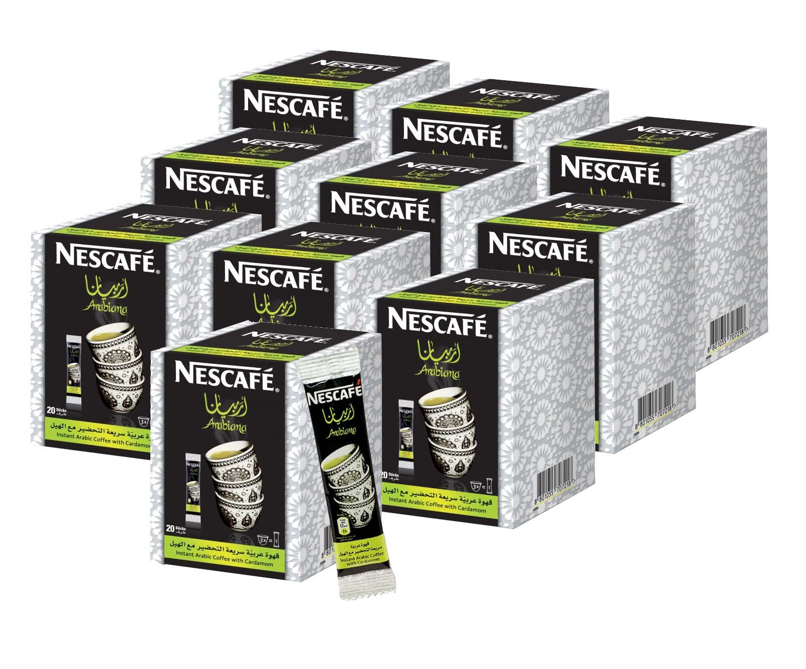 Instant Nescafe Arabiana Arabic Coffee Mix With Cardamom Flavor - Small Sticks (10 Boxes (200 Sticks))