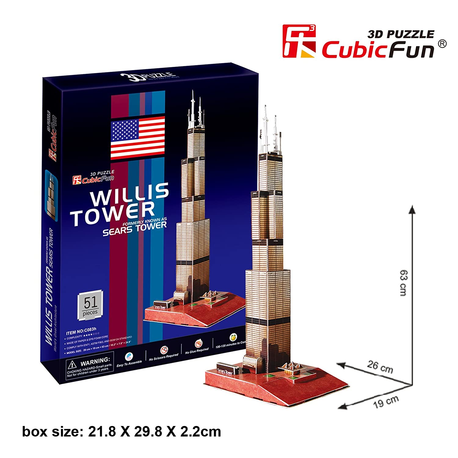 cubicfun sears tower chicago usa paper 3d puzzle jigsaw