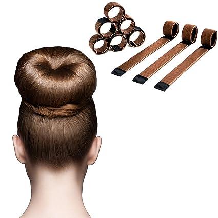 JIAHAO Magic Hair Bun Maker - Pack de 6 moldes para hacer moños (café)