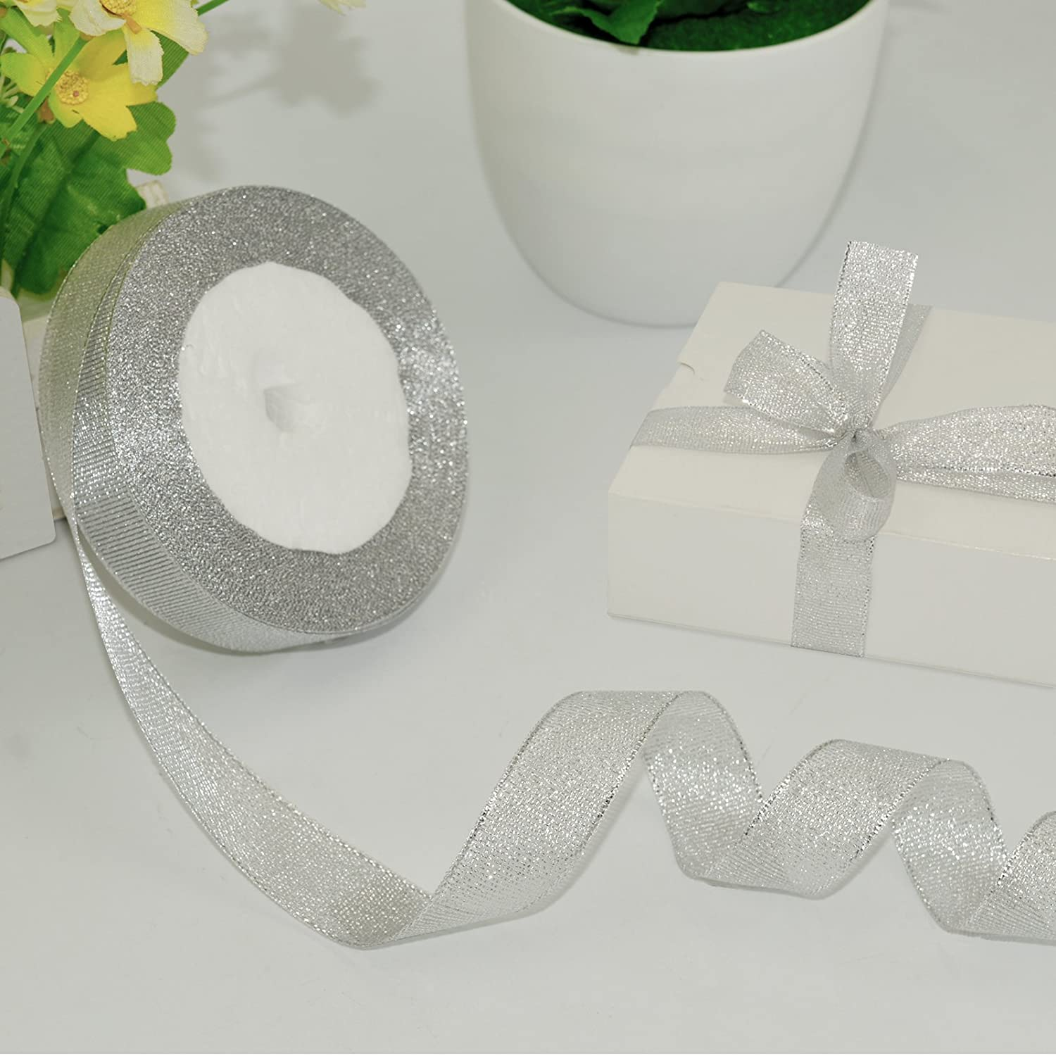 Organza Ribbon,KAKOO 2 Pack 25 Yard 20mm Wide Glitter Trimmings Decorative Ribbons for Gift Wrapping Gold/&Silver