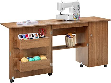 Kealive Folding Sewing Table Sewing Craft Cart Wood Sewing Desk With Storage Shelves And Lockable Casters Sewing Cabinets With Storage Cabinet Multifunction Computer Desk For Small Spaces Brown Kitchen Dining