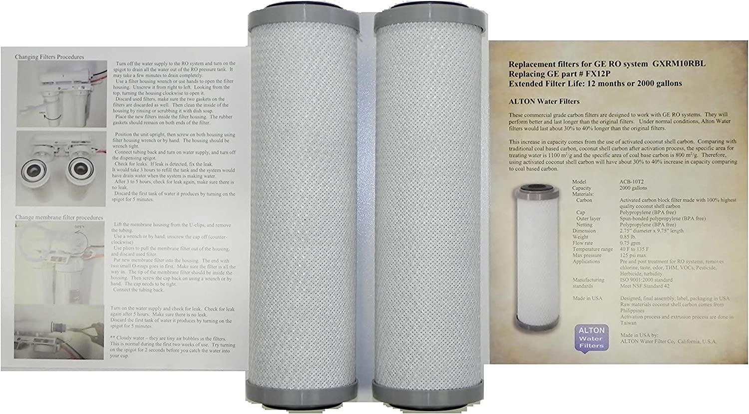 Compatible GE FX12P Pre & Post Replacement Filter cartridges, 2 Filters for GE GXRM10RBL RO System Alton Brand Commercial Grade Extended Service Life Compatible to FX12P FX12M