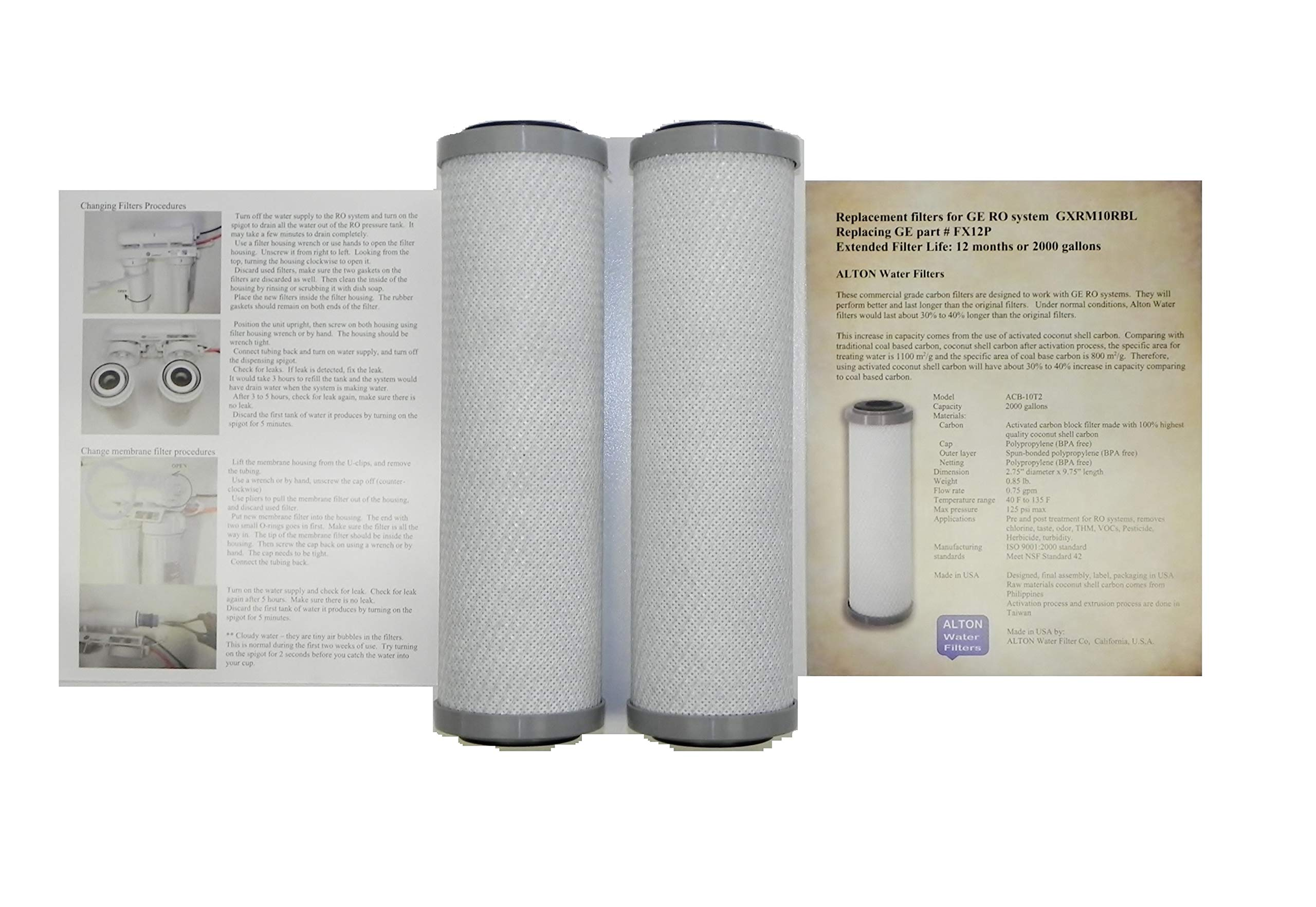 Compatible GE FX12P Pre & Post Replacement Filter cartridges, 2 Filters for GE GXRM10RBL RO System Alton Brand Commercial Grade Extended Service Life Compatible to FX12P FX12M by ALTON Water Filters