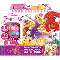 Make It Real – Disney Princess Fashion Watercolor Sketchbook. Disney Princesses Water Coloring Book for Girls. Includes Princess Sketch Pages, Paint Brushes, Watercolor Paints, Stencils & Stickers