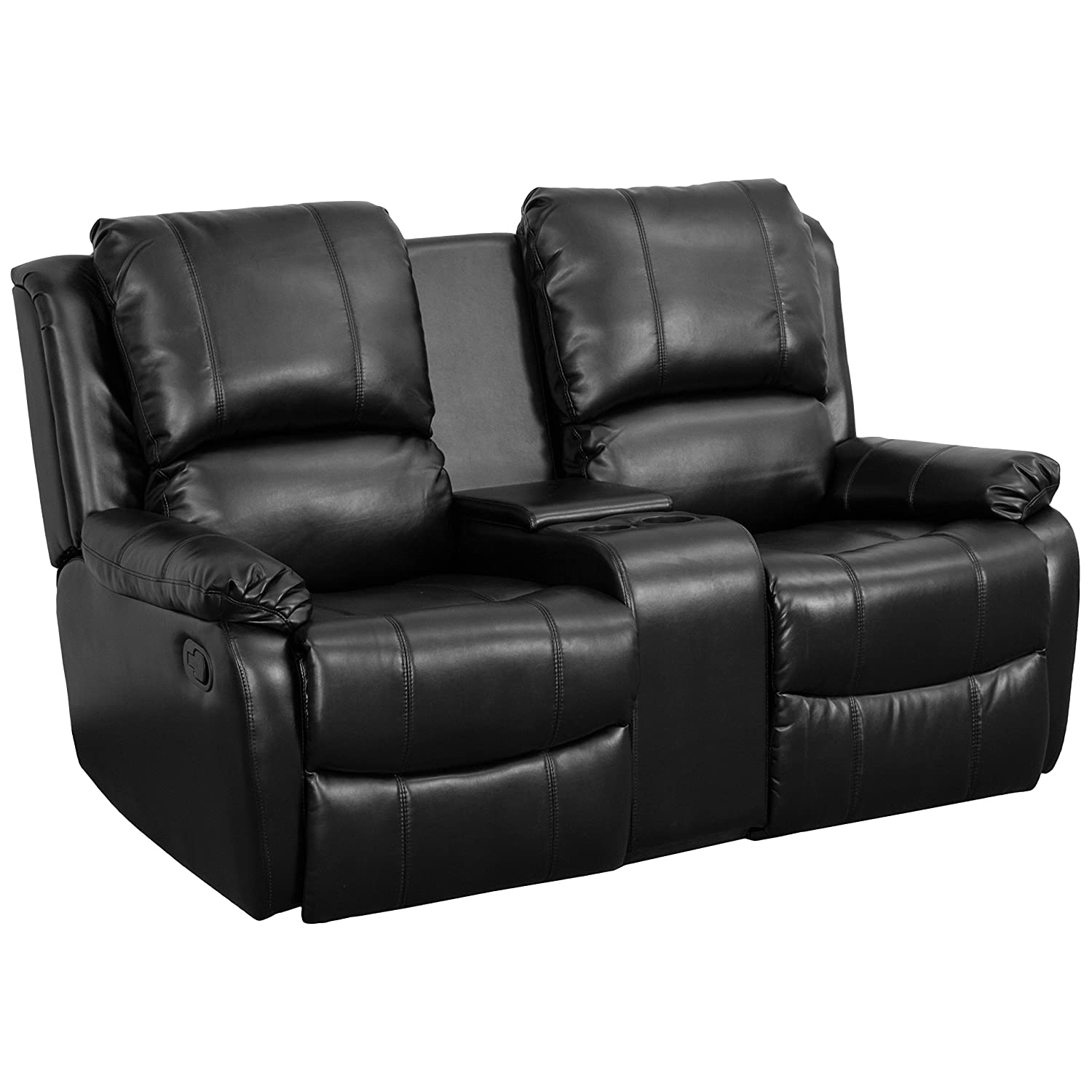 Amazon.com Flash Furniture Allure Series 2-Seat Reclining Pillow Back Black Leather Theater Seating Unit with Cup Holders Kitchen u0026 Dining  sc 1 st  Amazon.com : 2 seater recliner leather sofa - islam-shia.org
