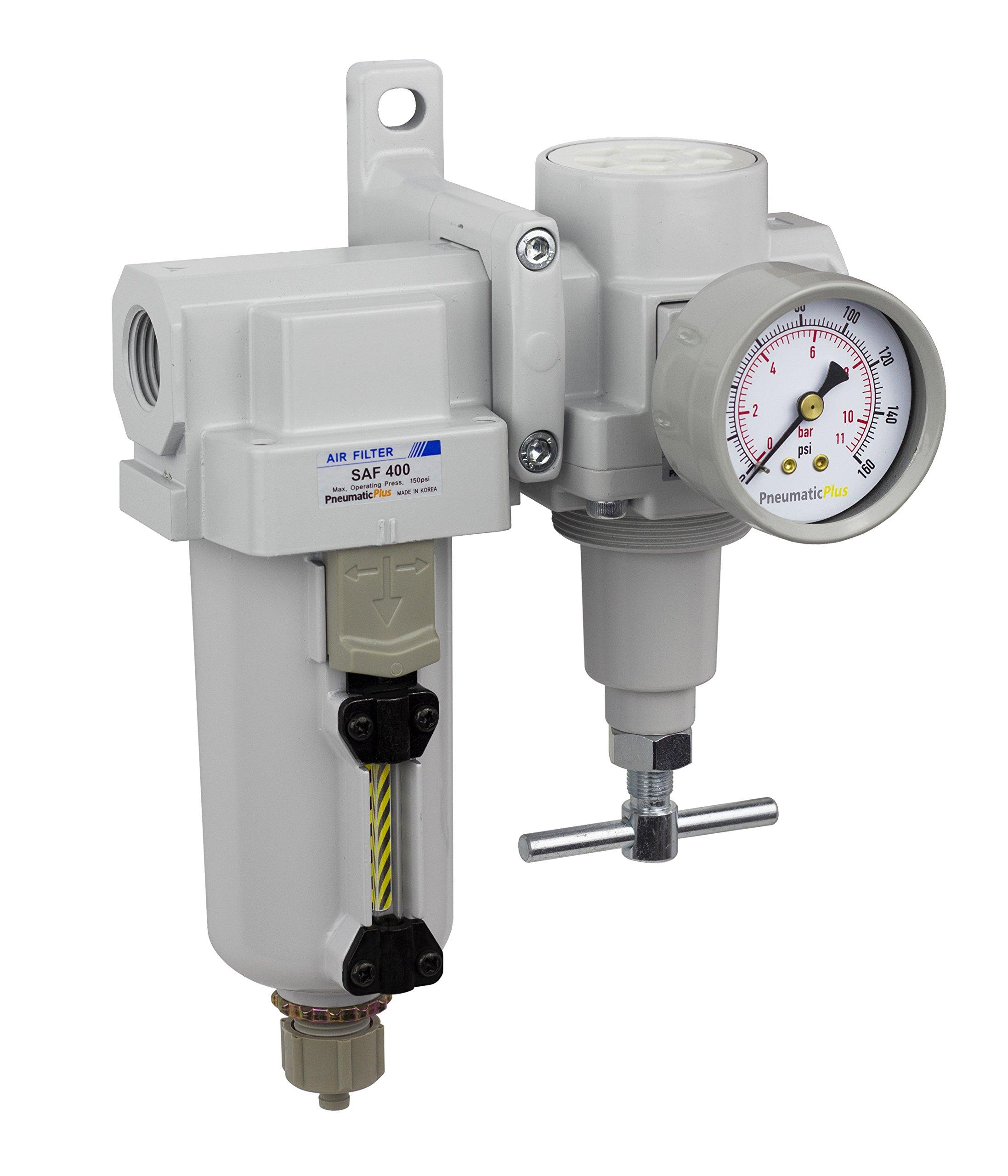 PneumaticPlus SAU420T-N04G-MEP Air Filter Regulator Combo 1/2'' NPT -T-Handle, Manual Drain, Metal Bowl by PneumaticPlus