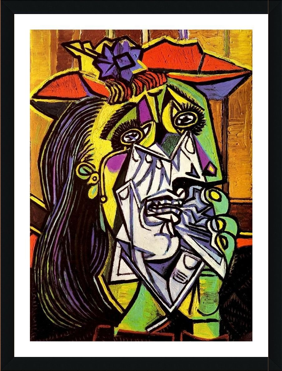 Alonline Art - Weeping Woman by Pablo Picasso | White framed picture printed on 100% cotton canvas, attached to the foam board | Ready to hang frame | 14x19 | Wall art home decor for home giclee HD Alonline Art Studio