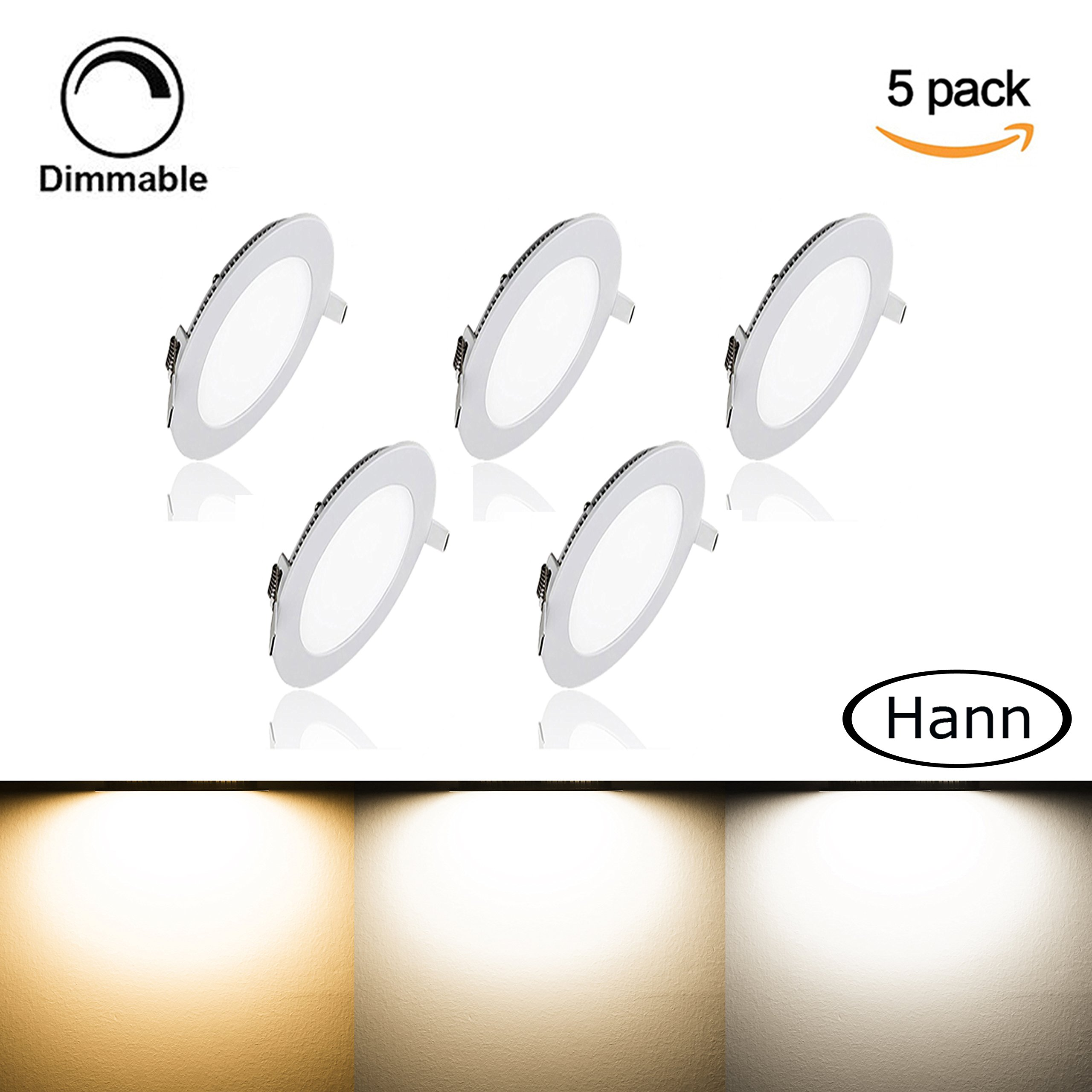 [5 Pack] Round Ceiling Light,Hann Ultra-thin Recessed Downlight Lamp,LED Bathroom Bedroom Lighting Fixtures 15W 1200lm,3000K,100W Incandescent Equivalent,Cut Hole 7.1 Inch,AC100-120V,with LED Driver