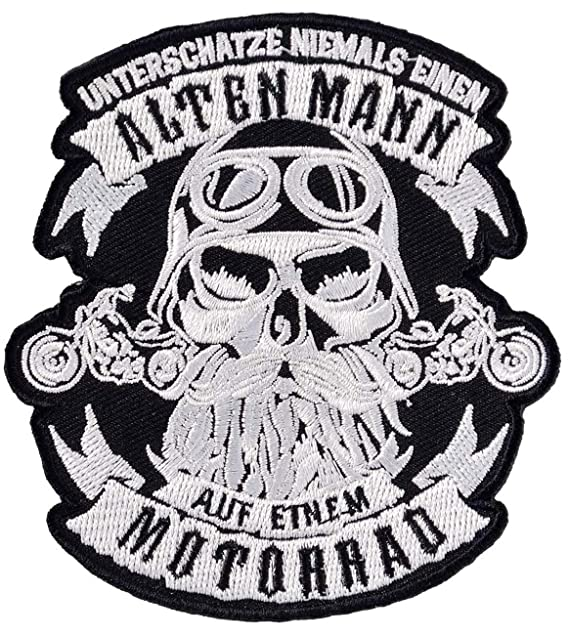 Bügel Aufnäher Biker Unterschätze nie einen Alten Mann auf Motorrad