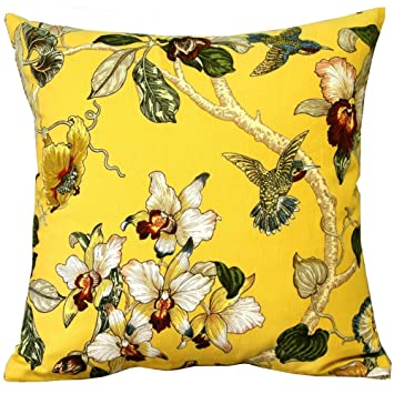 Yellow Birds Flowers and Tree Cotton Sofa Decor Throw Pillow