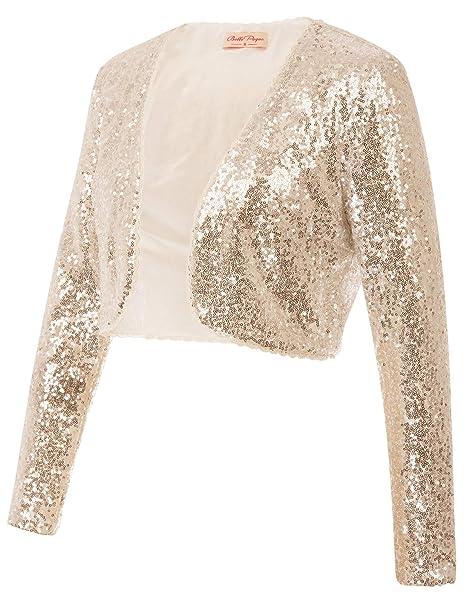 f965d77b49 Belle Poque Women's Sequin Jacket Long Sleeve Open Front Glitter Cropped  Blazer Bolero Shrug S-XXL