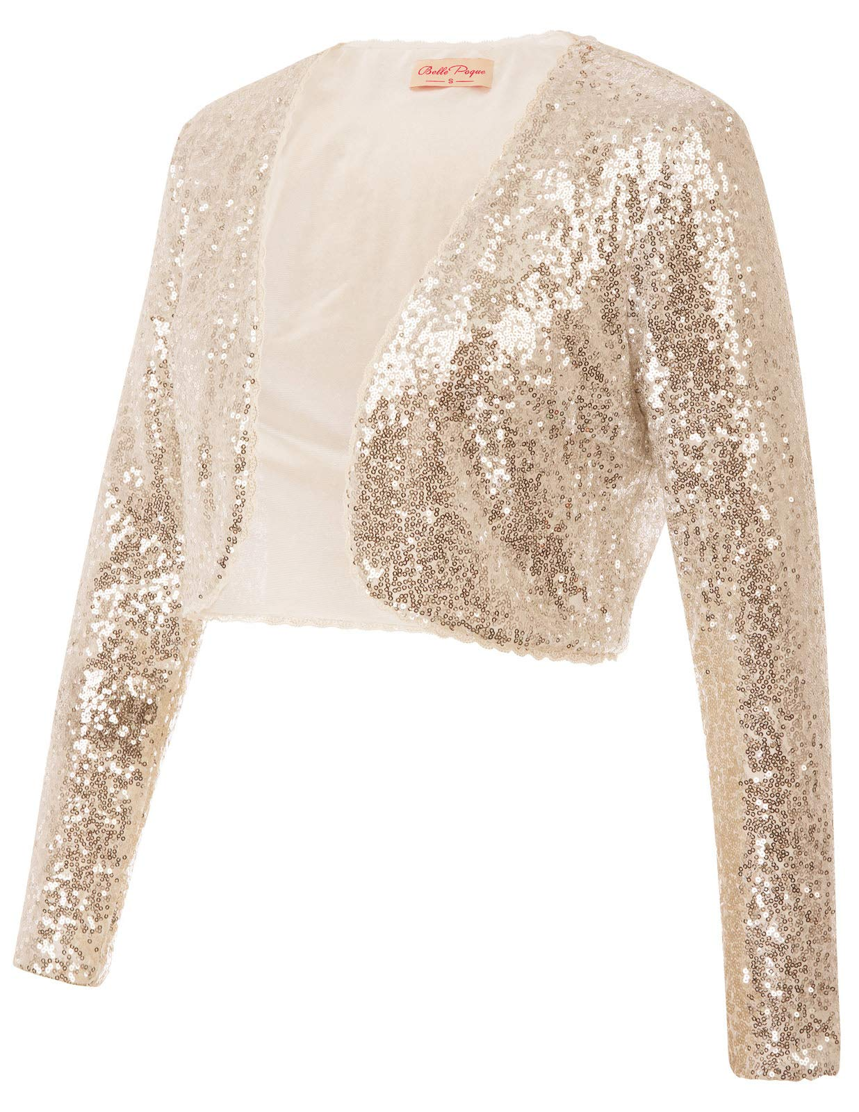 Fancy Night Out Dress Shrug for Women Long Sleeve(L,Gold)