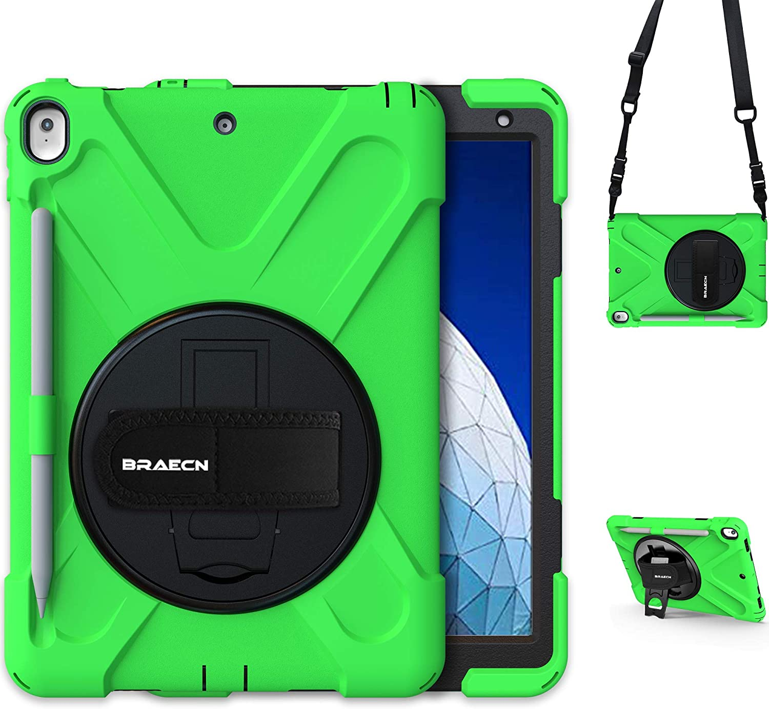 BRAECN Case for iPad Air 3rd Gen 10.5'' 2019,[Pencil Holder]+[Carrying Shoulder Strap]+[Hand Strap]+[Kickstand] Heavy Duty Dropproof Shockproof Protective Case for iPad Pro 10.5 Inch 2017 Tablet-Green