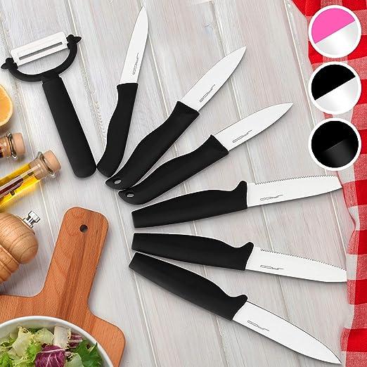 Juego de cuchillos de 7 piezas con el estuche de color negro-blanco