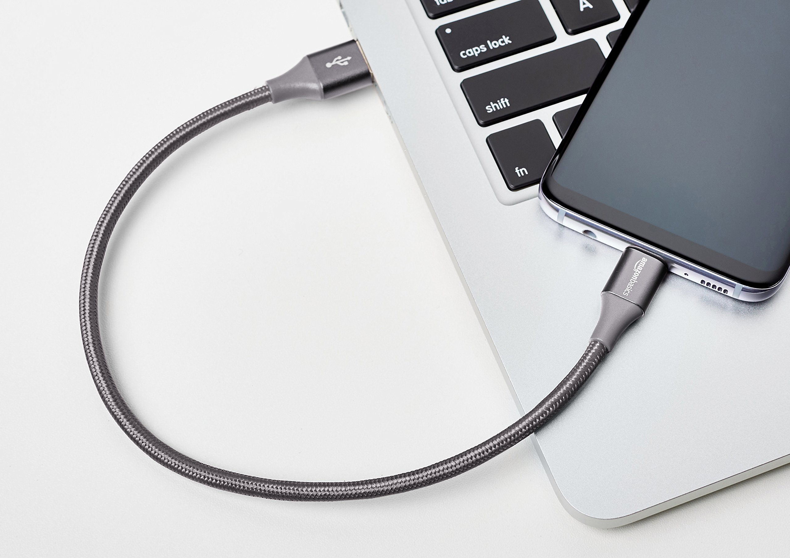 AmazonBasics Double Braided Nylon USB Type-C to Type-A 3.1 Gen 2 Cable   1 feet, Dark Grey by AmazonBasics (Image #2)