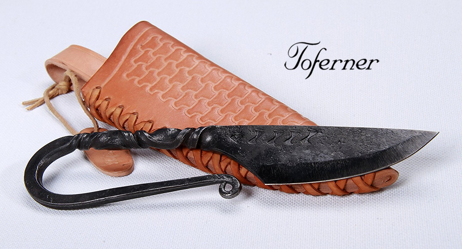 Toferner Medieval Celtic knife- Hand Forged Knife- Sports- Hand Made Genuine Leather Case- Polished & Hardened Blade - Vintage– Art Collection- Antiquity- Great Gift Idea- By