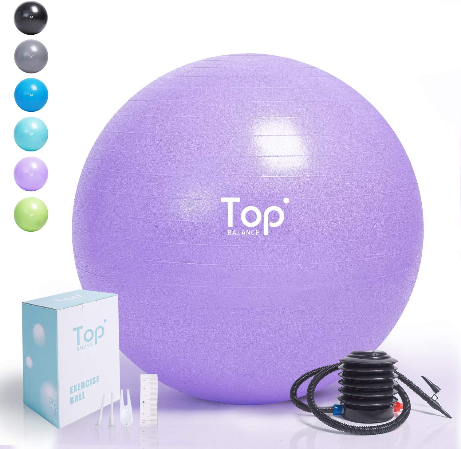 Top Balance Exercise Ball (Multiple Sizes) Extra Thick Yoga Ball Chair for Fitness, Stability, Balance, Pilates, Birthing - Anti Burst Supports ...