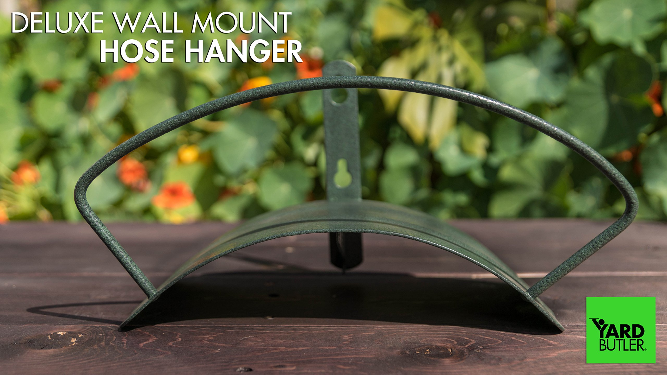 Yard Butler Deluxe Heavy Duty Wall Mount Hose Hanger Easily Holds 100' Of 5/8' Hose Solid Steel Extra Bracing And Patented Design In and DECORATIVE DESIGNS IHCWM-1 Textured Forest Green by Yard Butler (Image #5)