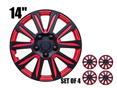 Image Unavailable. Image not available for. Color: 14 inch Hubcaps - RED and ...