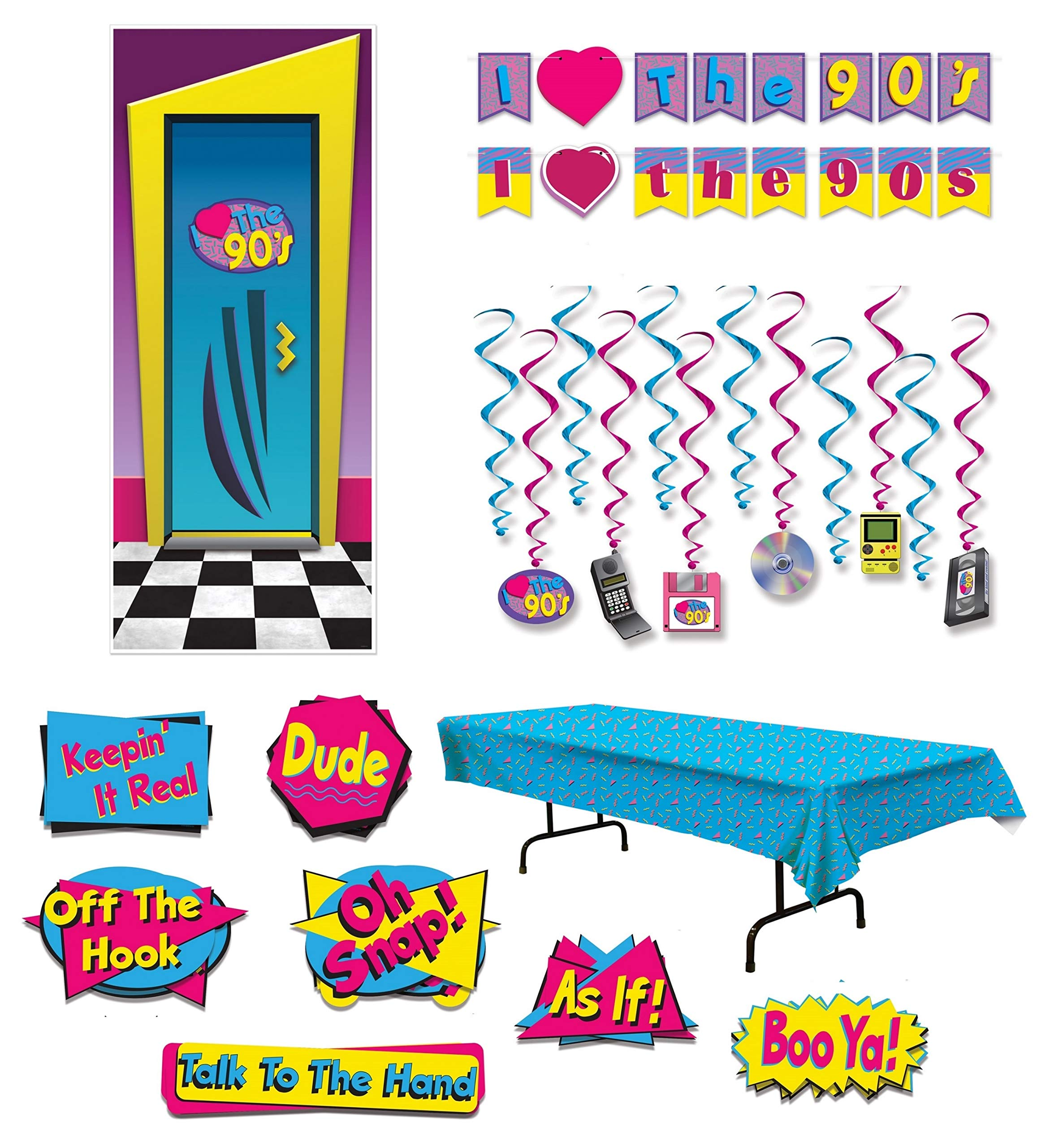 90s Party Supplies Decorations Hip Hop Themed Table Cover Cutouts Banner Streamer Whirls Door Cover by FAKKOS Design