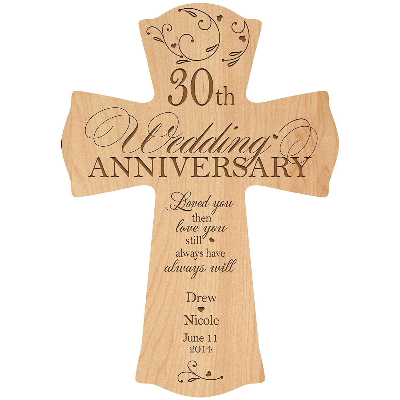 Amazon.com: Personalized 30th Wedding Anniversary Wood Wall Cross ...