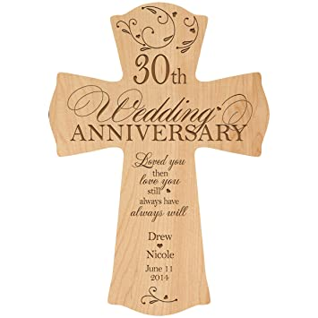 Amazon Personalized 30th Wedding Anniversary Wood Wall Cross