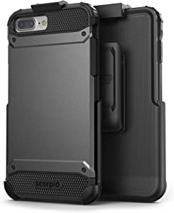 Encased iPhone 8 Plus Belt Clip Holster Case (UE600) - Rugged Case with Holder (Metallic Gray)