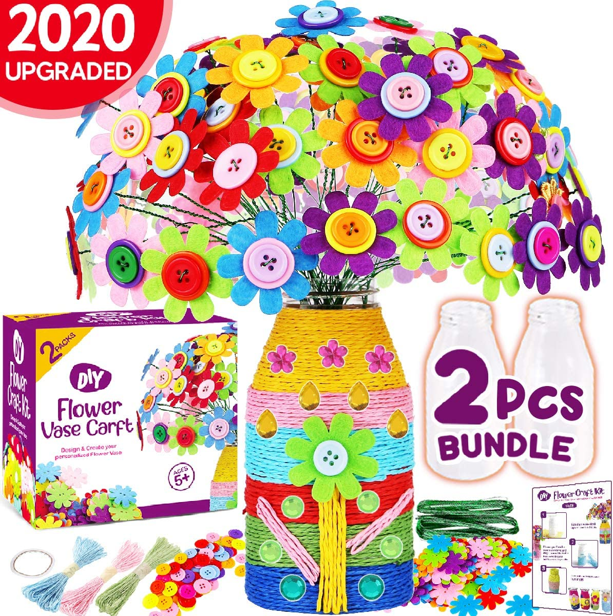 Make Your Own Buttons Flower Bouquet Craft for Girls Boys Age 4 5 6 7 8 9 10 Years Old Arts and Crafts Colorful Button Art Felt Flower Toy DIY Kit Innorock Flower Vase Craft Kit for Kids