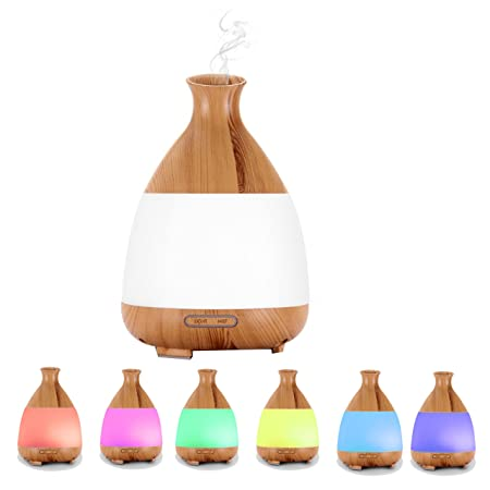 Ledsniper 120ML Essential Oil Diffuser, Mini Wood Grain Cool Mist Ultrasonic Air Aroma Humidifier with 7 Color Changing LED Lights with Auto Shutoff Function for Office, Yogo, Home, Travel