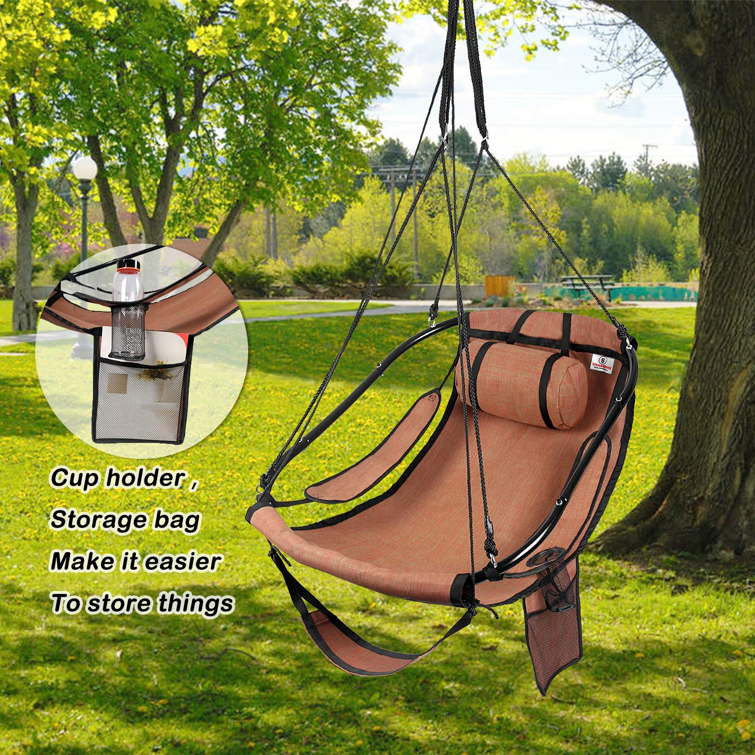 Bathonly 2019 Upgraded Hammock Hanging Chair Air Sky Swing Rope Chair with Plump Pillow Drink Holder Armrest, Foot Rest – Indoor Outdoor 330 Lbs