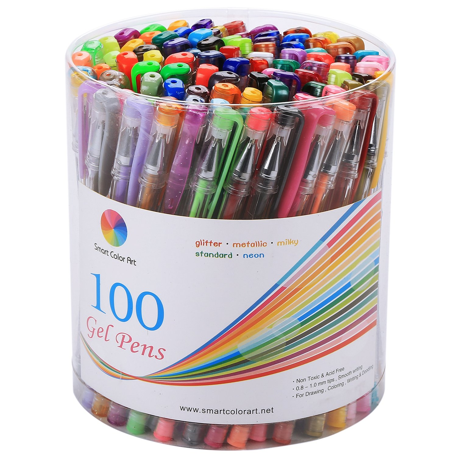 Smart Color Art 100 Colors Gel Pens Set for Adult Coloring Books Drawing Painting Writing by Smart Color Art (Image #1)