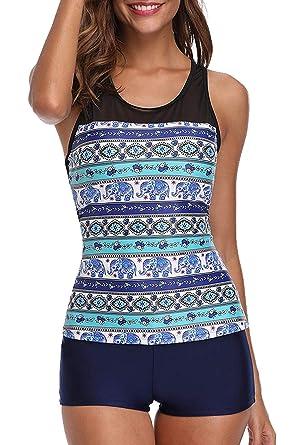 a62baf99f487a Women Padded Tribal Printed Tankini Set Vintage Retro Tankini Top with  Boyshorts Shorts Two Pieces Swimwear Swimsuit Swimming Costume:  Amazon.co.uk: ...