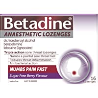 Betadine Anaesthetic Lozenges, Triple action sore throat lozenges, Numbs a painful sore throat fast, Berry flavour, 16…