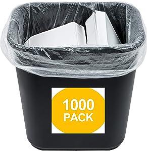 1000 Small to Medium Trash Bags | 7-8-9-10 Gallon Trash Bags | 24