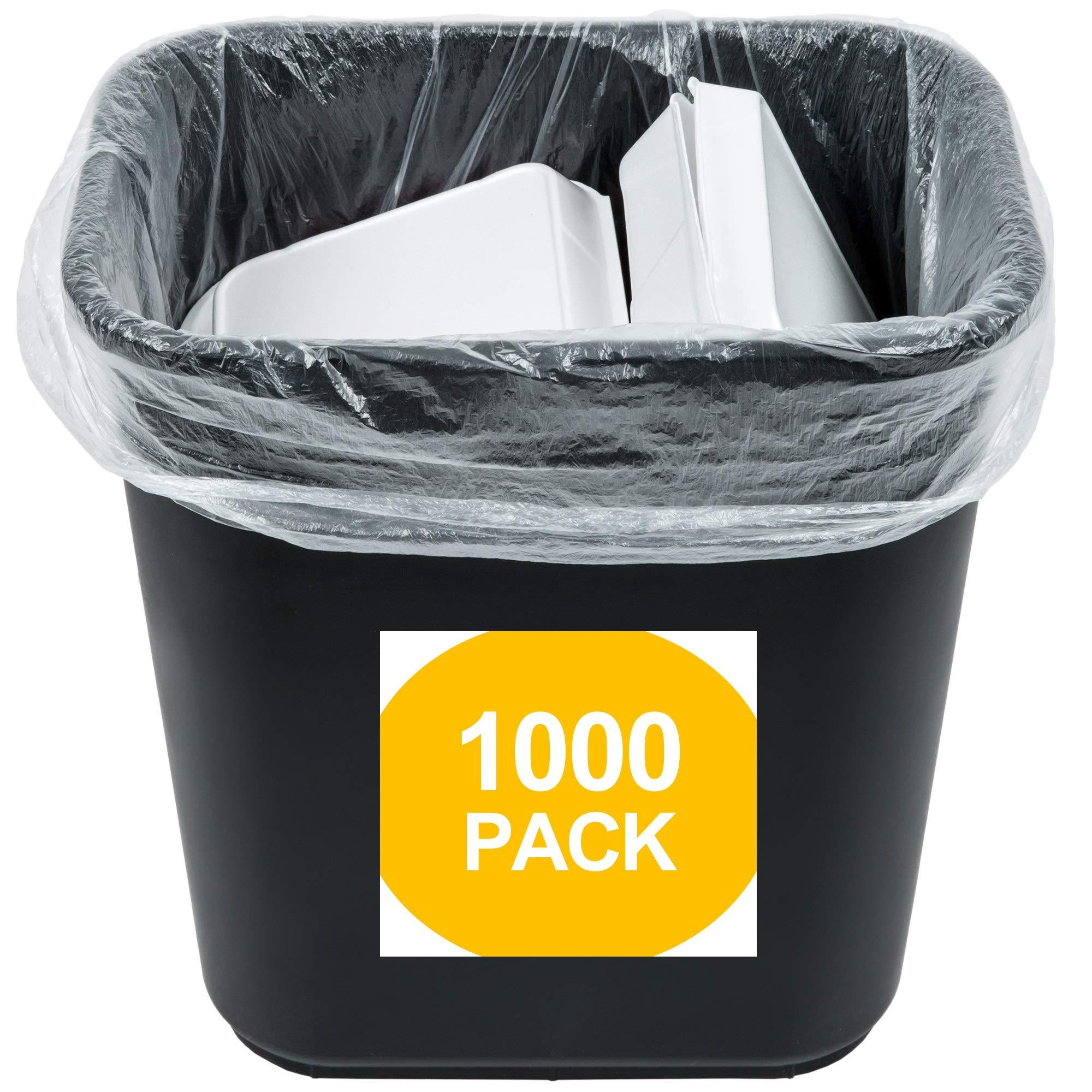 1000 Small to Medium Trash Bags | 7-8-9-10 Gallon Trash Bags | 24'' x 24'' Clear Garbage Bags - Commercial Waste Basket Trash Bags | Bulk Plastic Bathroom Trash Can Liners | Office Shredder Bags by Leano Line
