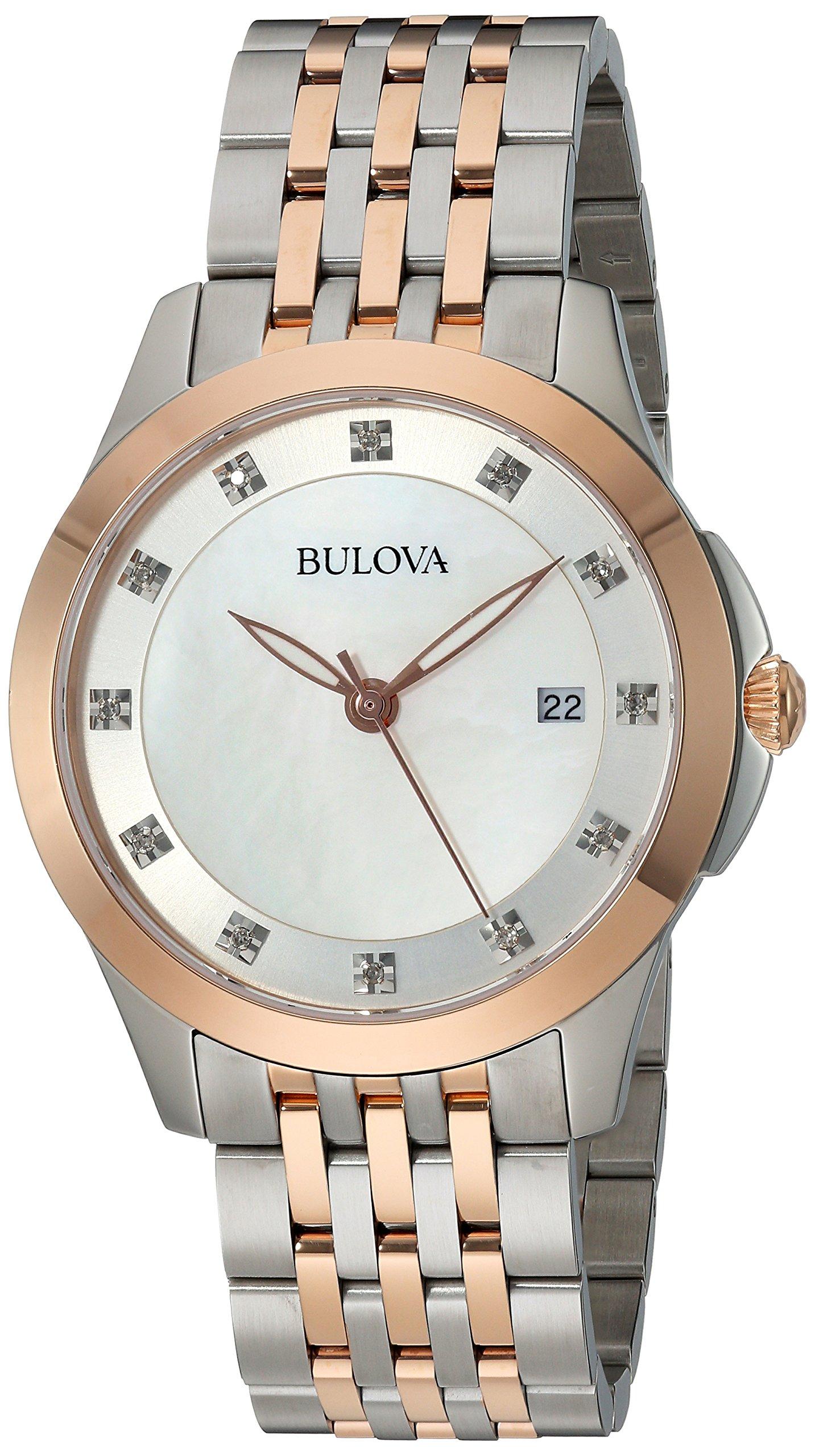 Bulova Women's Quartz Stainless Steel Dress Watch, Color:Two Tone (Model: 98P162)