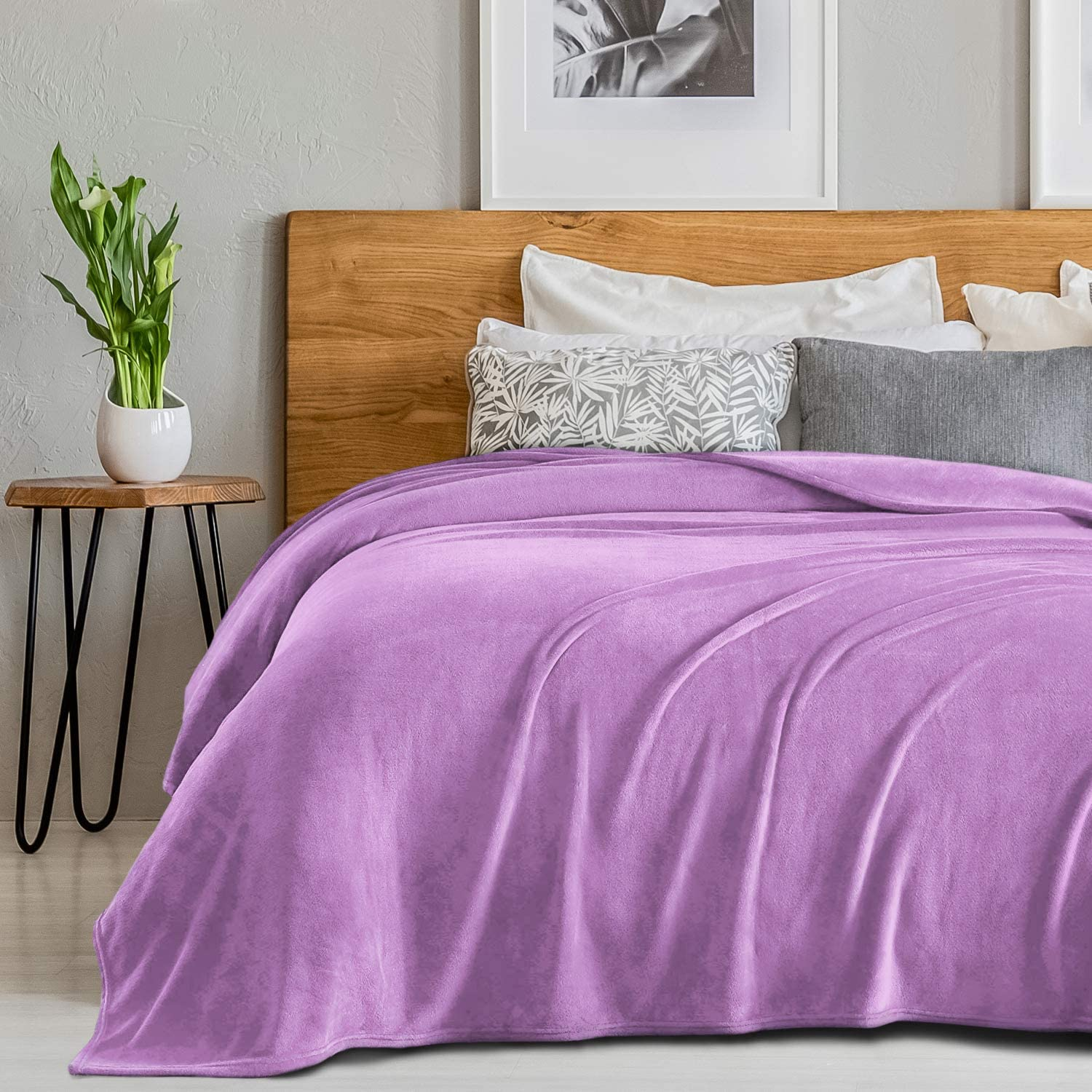 """SEDONA HOUSE Flannel Fleece Blanket 280GSM Luxury Microfiber Flannel Super Soft Warm Fuzzy Cozy Lightweight Blanket for Bed Couch or Car Color Purple Size Throw 50""""x60"""""""