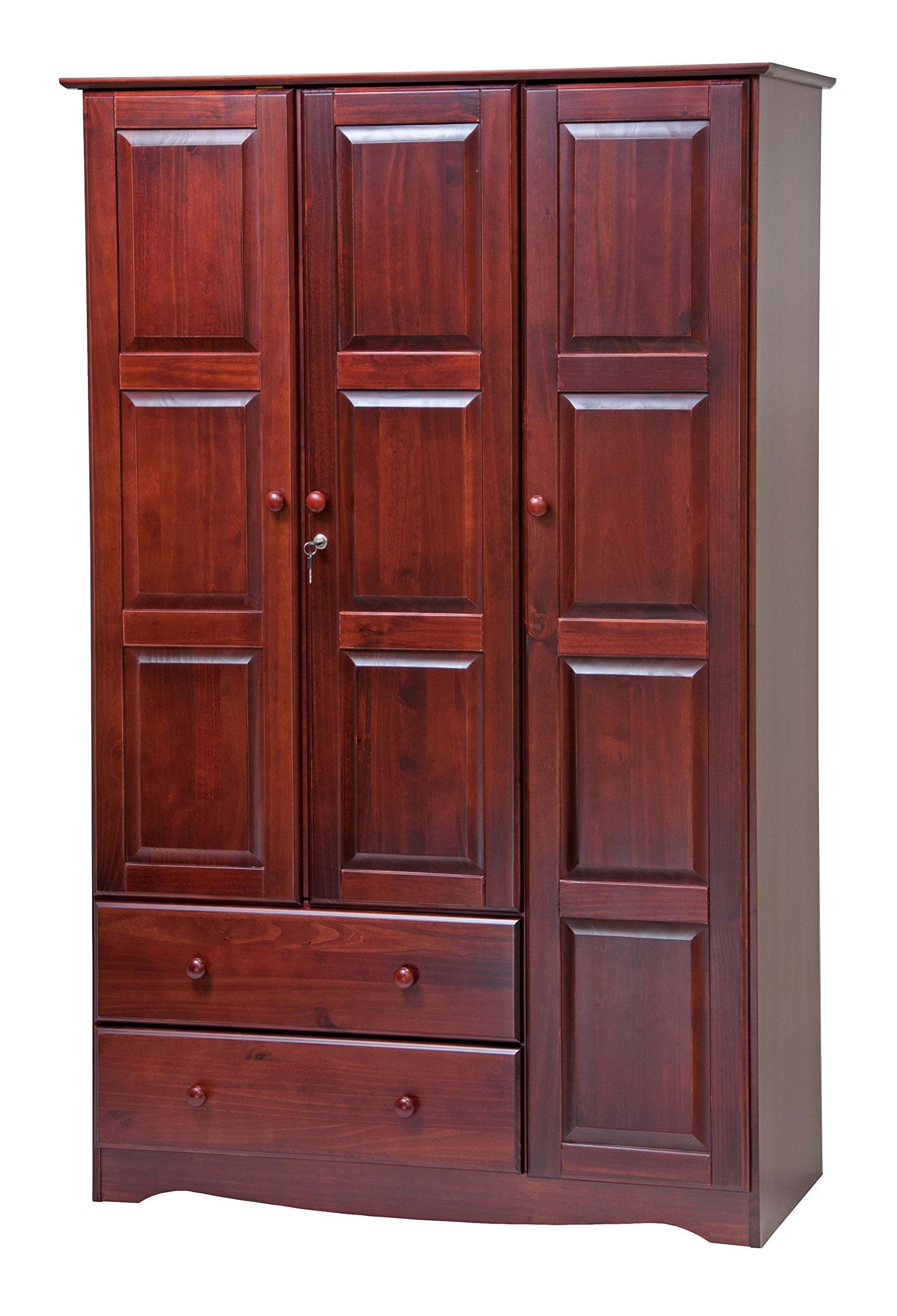 100% Solid Wood Grand Wardrobe/Armoire/Closet by Palace Imports, Mahogany, 46'' W x 72'' H x 21'' D