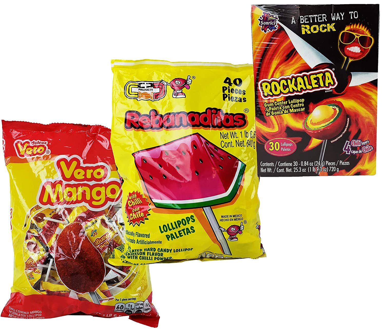 Amazon.com : Mexican Candy Rebanaditas Risandias Watermelon + Rockaleta Paleta + Vero Mango Spicy Sour Lolipop - 3 Pack, 110 pieces total : Grocery ...