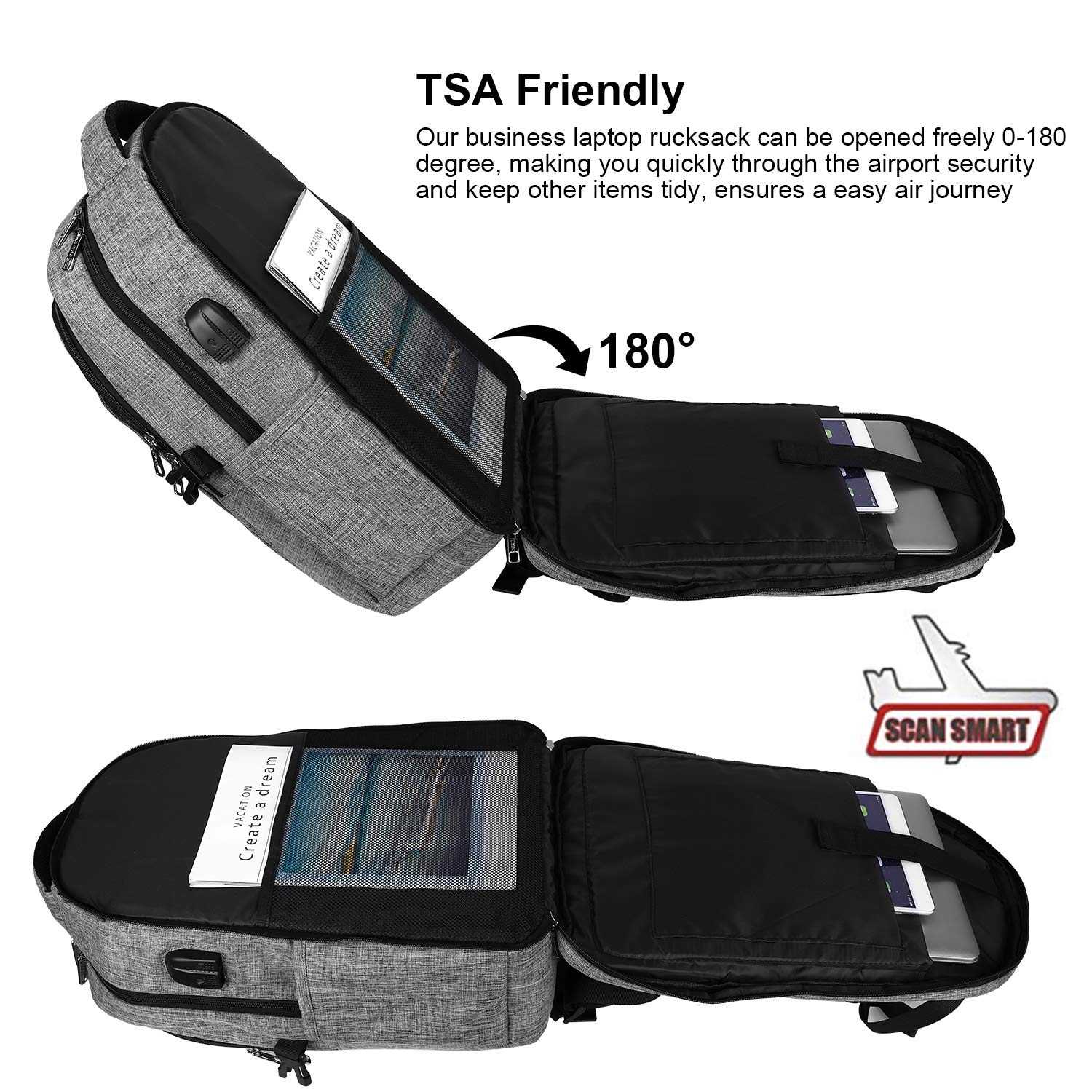 Travel Laptop Backpack, TSA Anti-Theft Business Laptop Backpack Bag with  USB Charging Port for Womens Mens, Durable Water Resistant 15 6 Inch  College