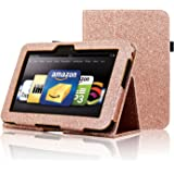 Kindle Fire HD 7 2012 Case, ACdream Folio Leather Wallet Case for Kindle Fire HD 7 2012 Version with Auto Sleep Wake Function, (Rose Gold Star of Paris)